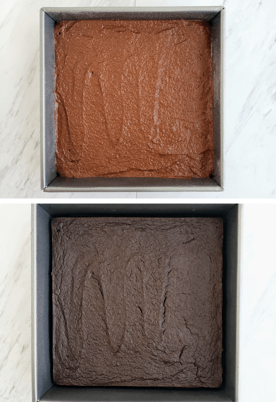top: sweet potato brownies batter in a square pan. Bottom: baked sweet potato brownies in square pan