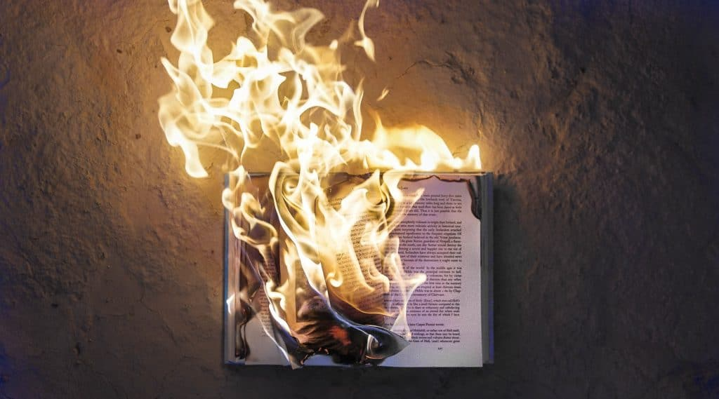 burning a paper book