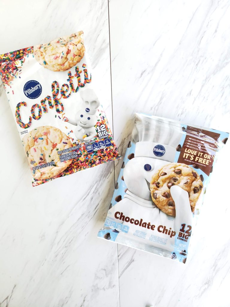 Pillsbury sugar cookies and chocolate chip cookie packages