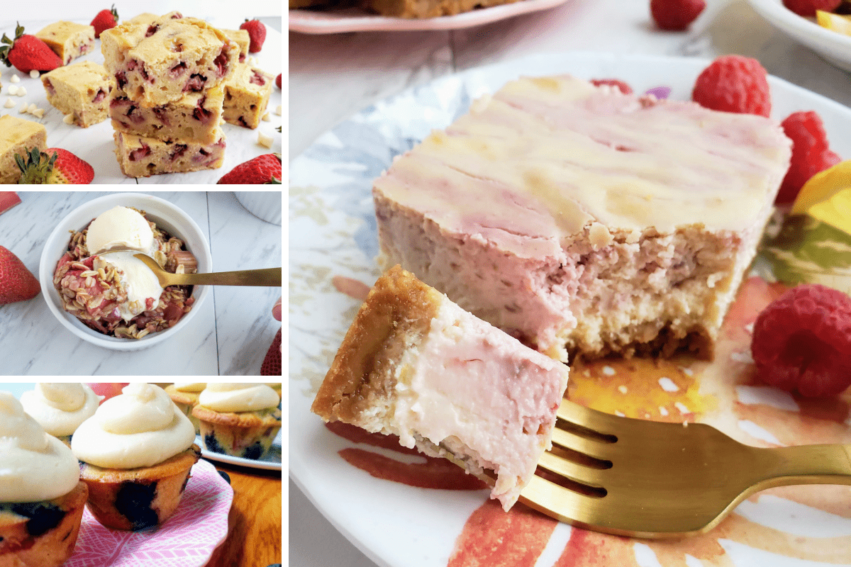 four easy fruit desserts: cupcakes, bars, crumbles