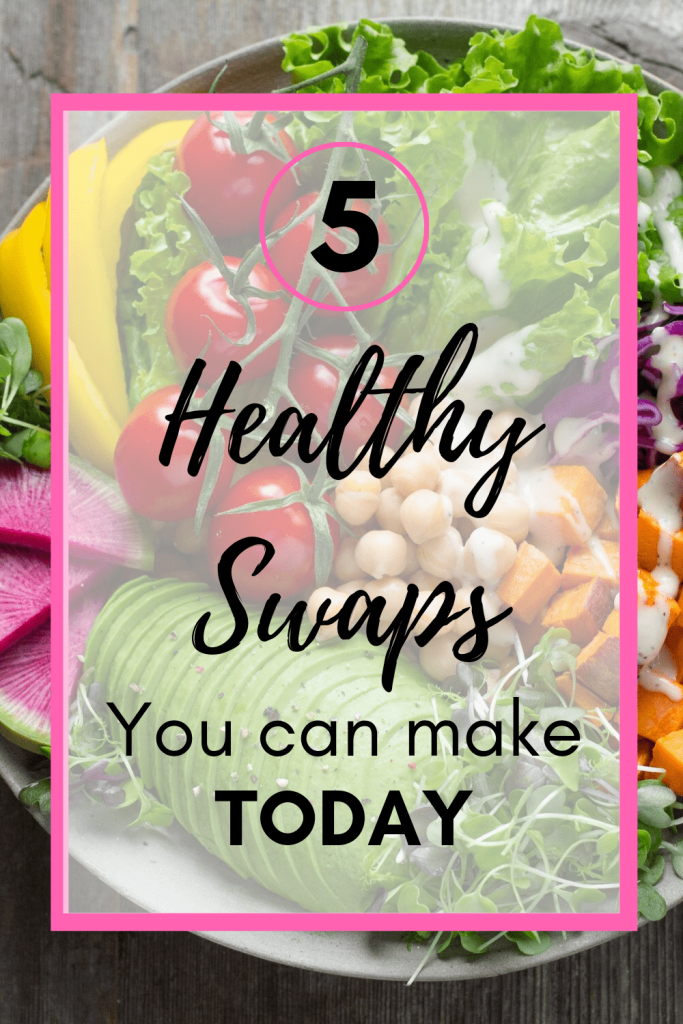 5 healthy and easy swaps you can make today to start living a healthier lifestyle. While healthy food swaps are important, so is mindset and gratitude. Follow these simple tips for living a healthier life. #mindful #howtopracticegratitude #intuitiveeating #manifestation
