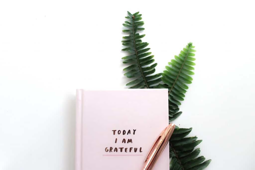 grateful notebook and leaves behind it