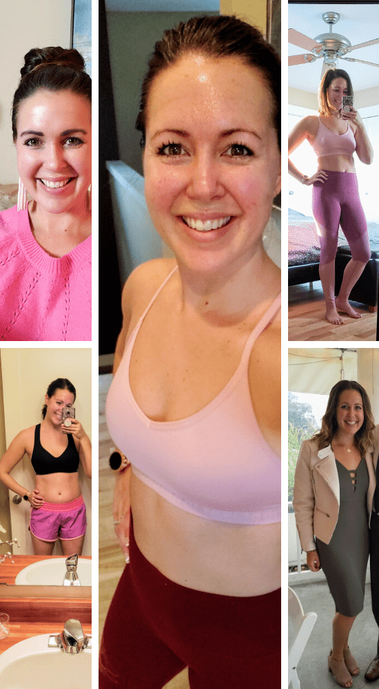multiple pictures of a woman in workout clothes, smiling at the camera