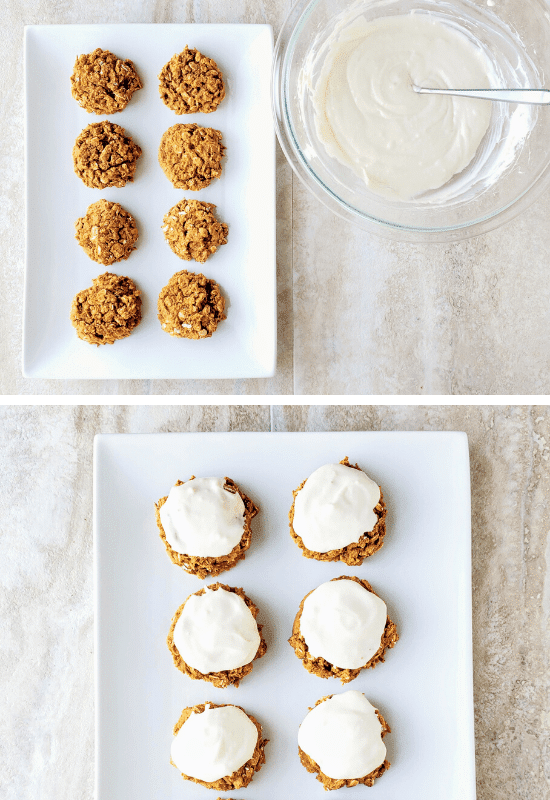top photo: unfrosted pumpkin oatmeal cookies with a bowl of cream cheese frosting to the right. bottom image: frosted pumpkin spice cookies on a long white plate.
