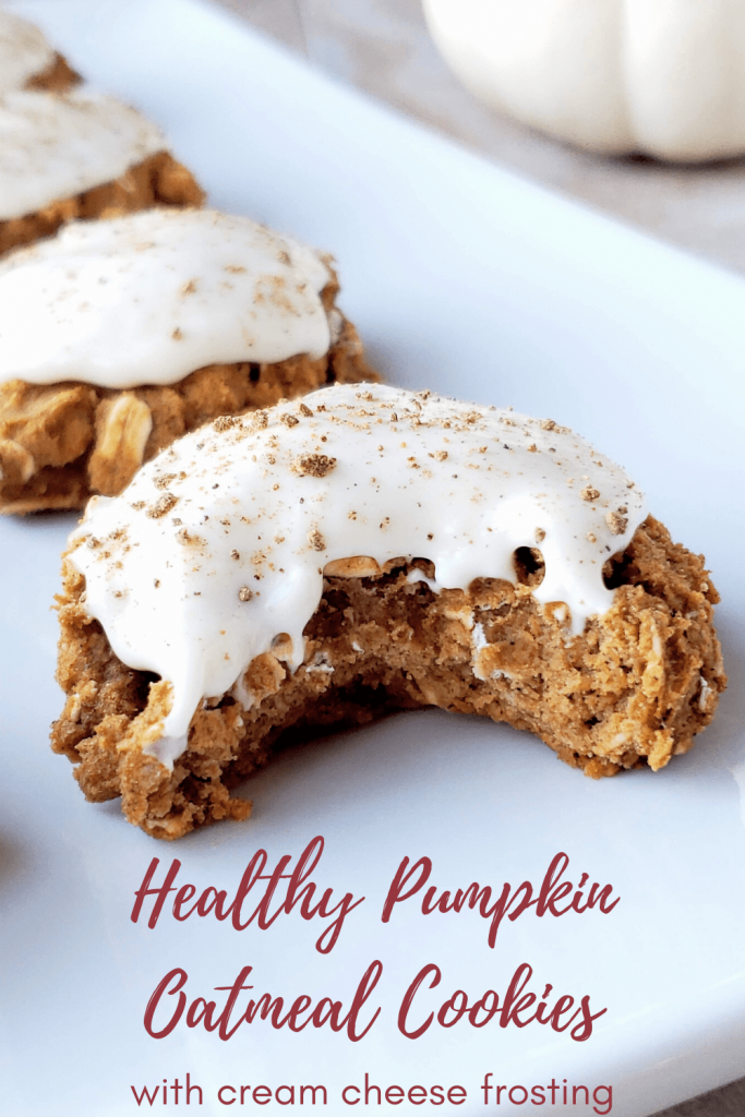 Healthy pumpkin spice oatmeal cookies are the perfect gluten free fall dessert or Thanksgiving treat. Made with no refined sugar, these chewy homemade pumpkin cookies are topped with a creamy cream cheese frosting. #pumpkinspice #pumpkincookies #oatmealcookies #falldessert #creamcheesefrosting #thanksgivingdessert