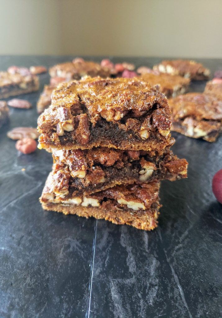 three stacks of healthy pecan pie bars