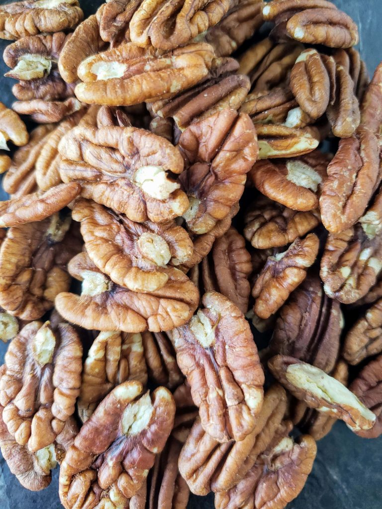 up close photo of whole pecans