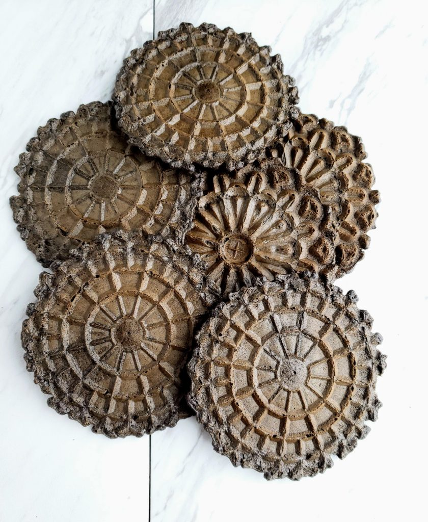Pizzelle chocolate cookies on a marble background