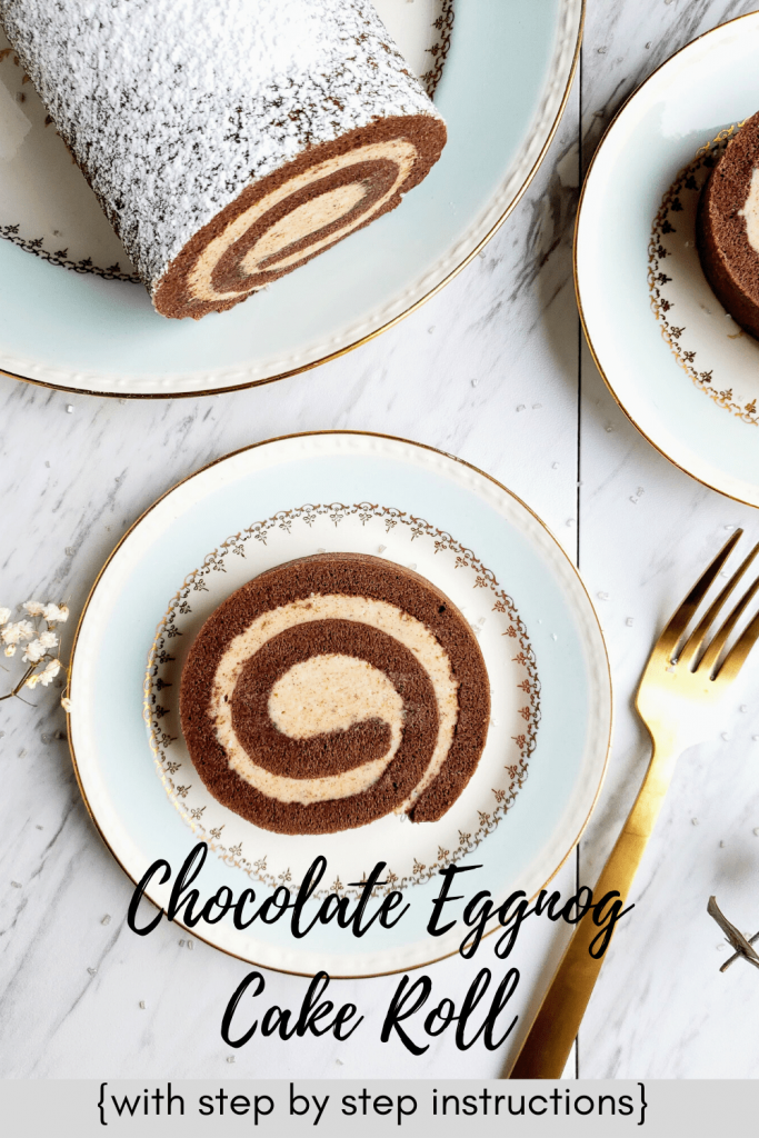 This chocolate eggnog cake roll is so easy to make. It's the perfect Christmas cake roll. This simple cake roll recipe also has how to make step by step instructions. #howtomakeacakeroll #cakerollrecipes #homemadecakeroll #christmasrecipes #christmasdessert #stepbystepinstructions