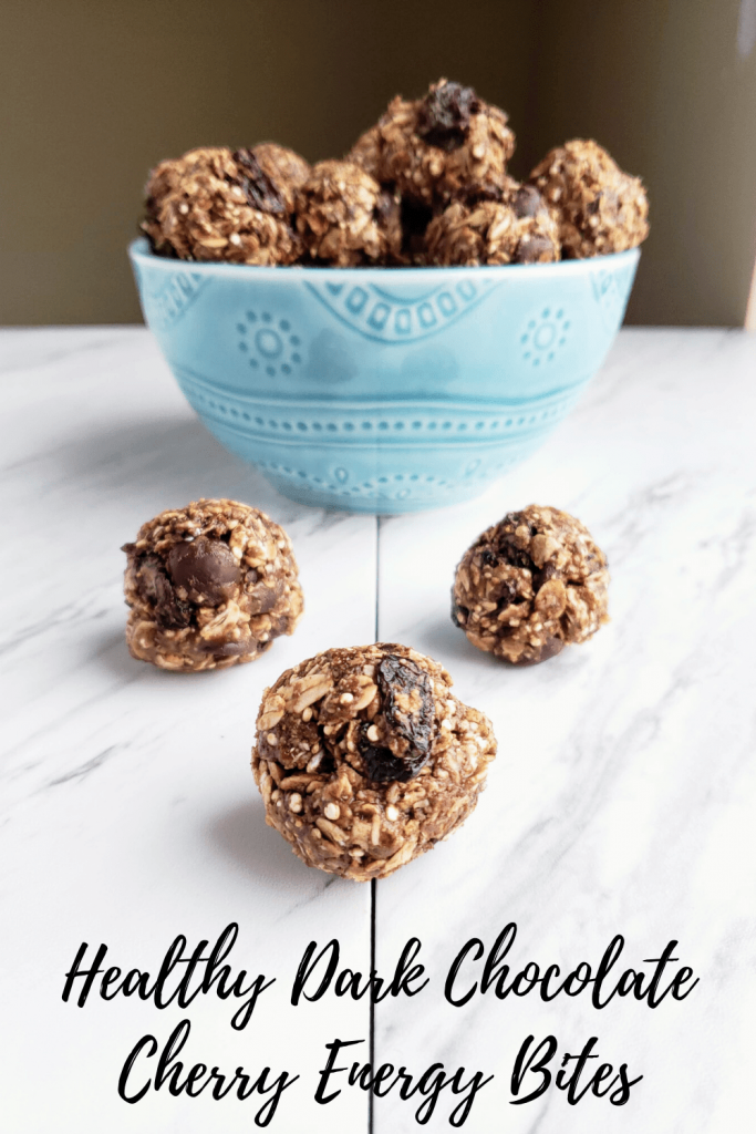 Healthy dark chocolate cherry energy bites are the perfect meal prep snack. Great for before or after a workout, these clean eating snacks are ready in just 15 minutes. #easyenergybites #energyballs #proteinbites #chocolateenergybites #glutenfreesnack #mealprepsnack #postworkoutsnacks