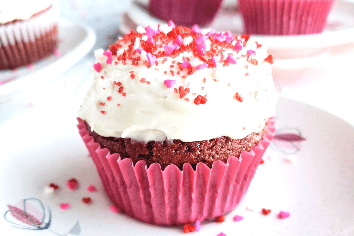 up close photo of a healthy red velvet cupcake
