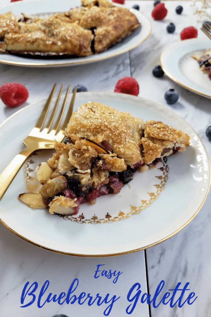 This easy blueberry galette recipe is the perfect easy pie recipe made with a mixture of fresh fruit. This is a perfect spring or summer dessert recipe. #summerdessert #pierecipe #galetterecipe #blueberrygalette #berrygalette #berrydessert