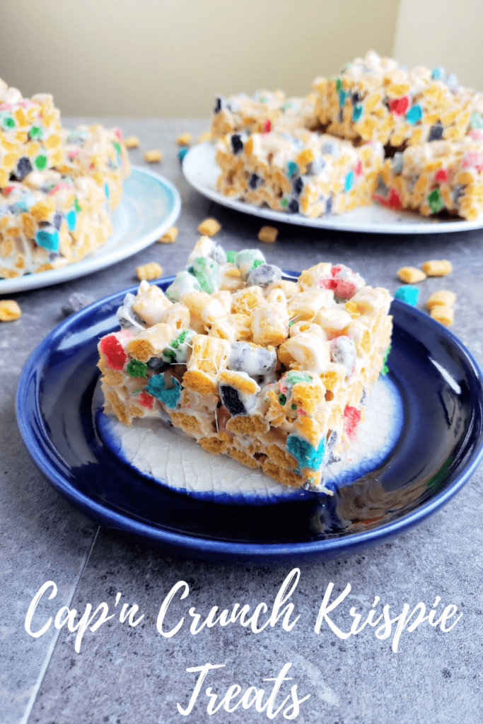Cap'n Crunch krispie treats are the perfect summer dessert. This easy no-bake dessert is perfect for a pool side treat or backyard BBQ. #ricekrispietreats #summerdessert #picnicdesserts #nobakedessert