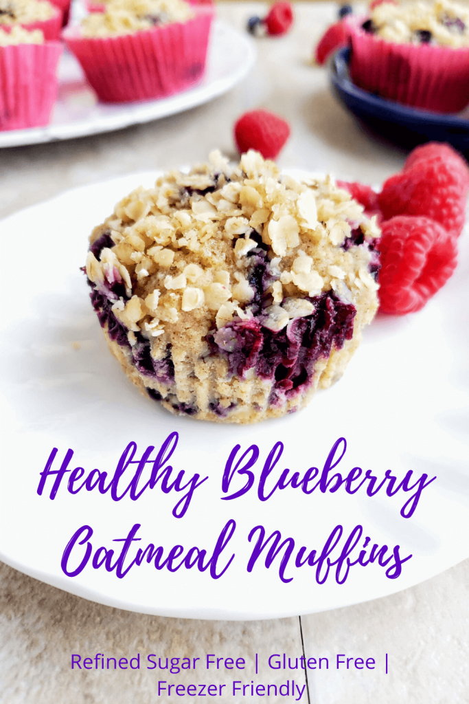 Healthy blueberry oatmeal muffins are an easy and healthy breakfast. These gluten free muffins are freezer friendly and the perfect on-the-go breakfast recipe. Refined sugar free and topped with a delicious crumble topping. #healthybreakfastrecipe #flourlessblueberryoatmealmuffins #healthymuffins #onthegobreakfast #freezerfriendlybreakfastrecipes #breakfastideas