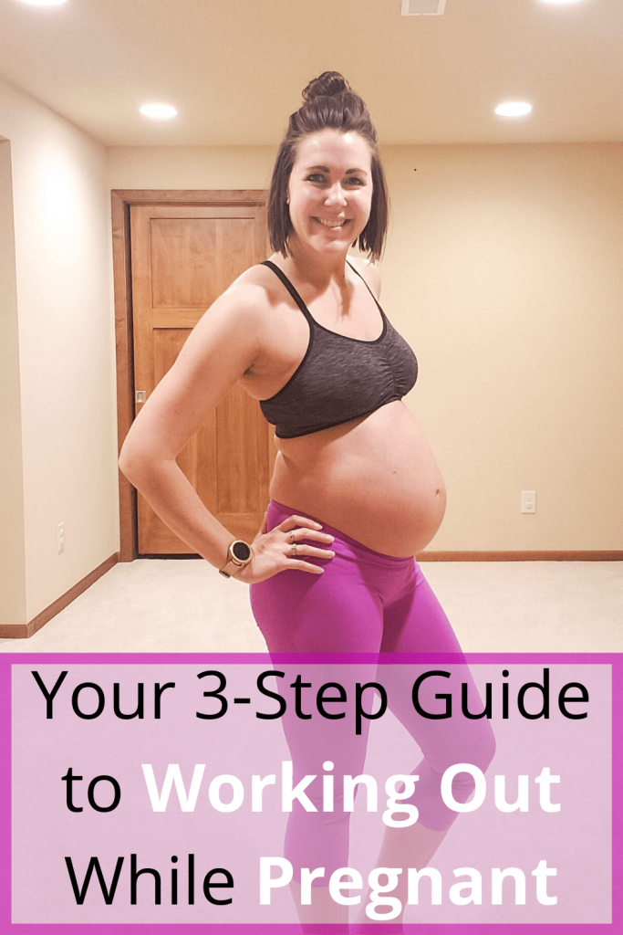 This easy 3-step guide will help you begin a pregnancy workout routine and help you to workout while pregnant. Working out while pregnant has so many great benefits, so follow these three tips to help through all three trimesters. #pregnancyworkoutroutine #pregnantworkout #workingoutwhilepregnant #pregnancytips