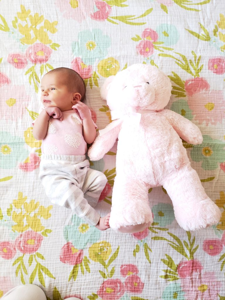 Newborn baby on a floral blanket with a pink teddy bear next to her