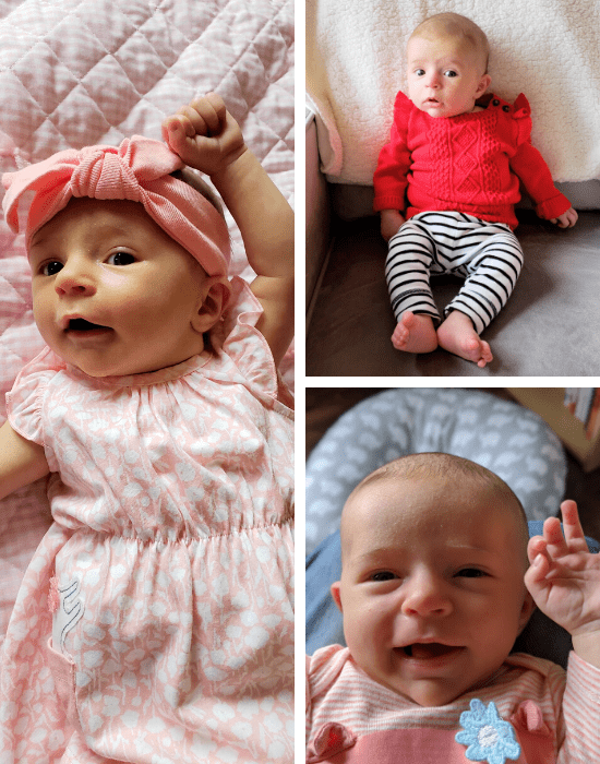 three pictures of a baby girl