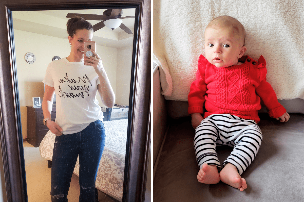 woman standing taking a photo in a mirror. right image: baby sitting in a chair
