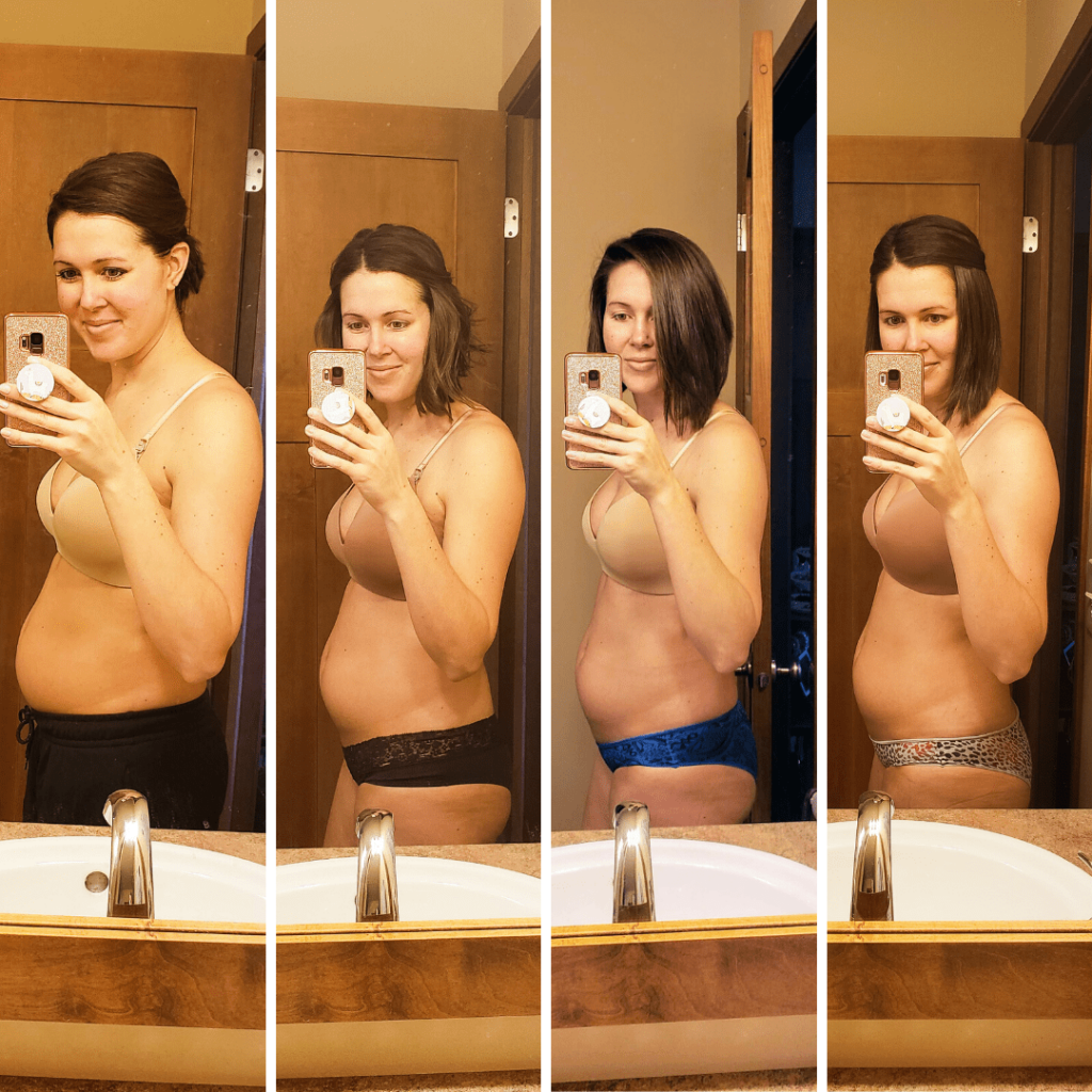 four images of a woman during her postpartum journey