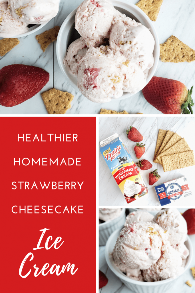 This homemade strawberry cheesecake ice cream recipe is made with an ice cream maker. It uses whole ingredients and no refined sugar. This is the perfect make at home strawberry ice cream recipe for summer. #homemadeicecream #strawberryicecream #howtomakestrawberryicecream #healthierhomemadeicecream