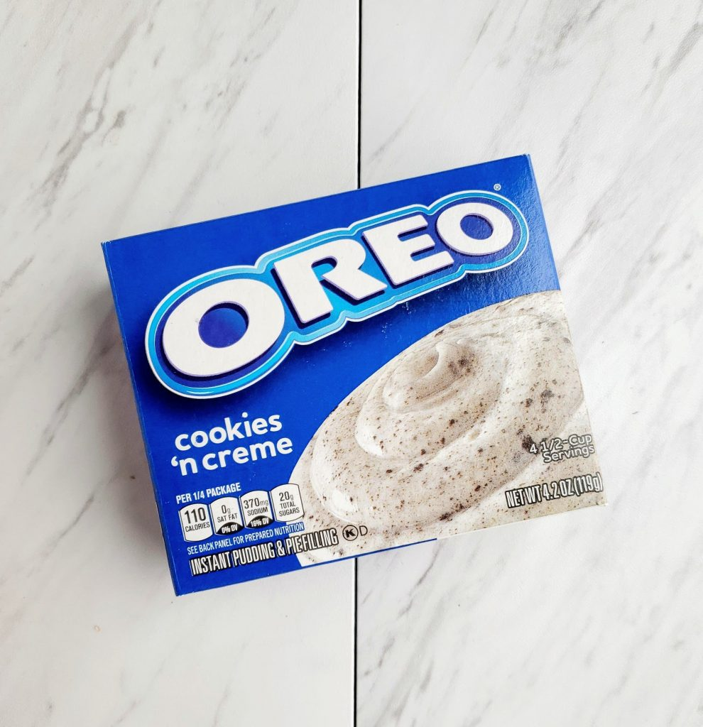 box of Oreo pudding