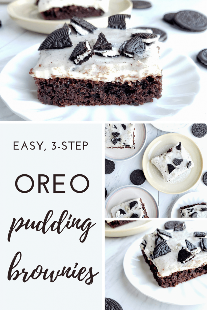 Looking for a really easy dessert recipe? Look no further than these Oreo pudding brownies. A box brownie mix topped with creamy no-bake cheesecake filling and Oreo pudding. #birthdaydessert #simpledessertrecipe #nobakecheesecake #easydessertideas #fundessertideas #dessertrecipe