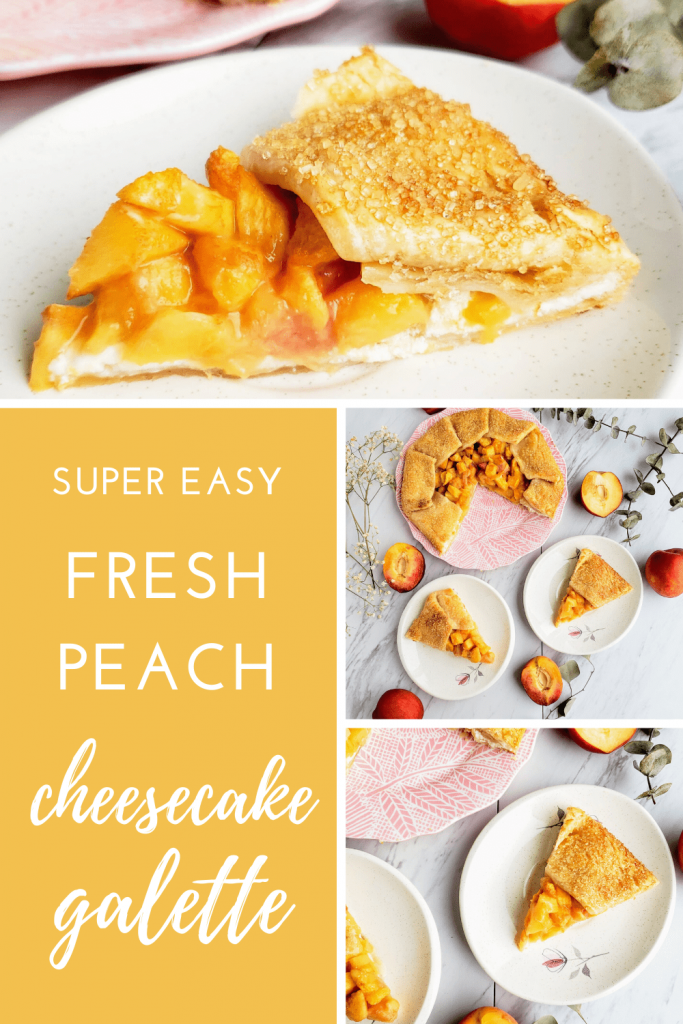 This fresh peach galette is the perfect summer time dessert. Made with fresh peaches and an easy cheesecake filling, this open-faced pie takes just 15 minutes to assemble. #easypierecipe #peachpie #peachgalette #summerfruitdessert #fruitdessert