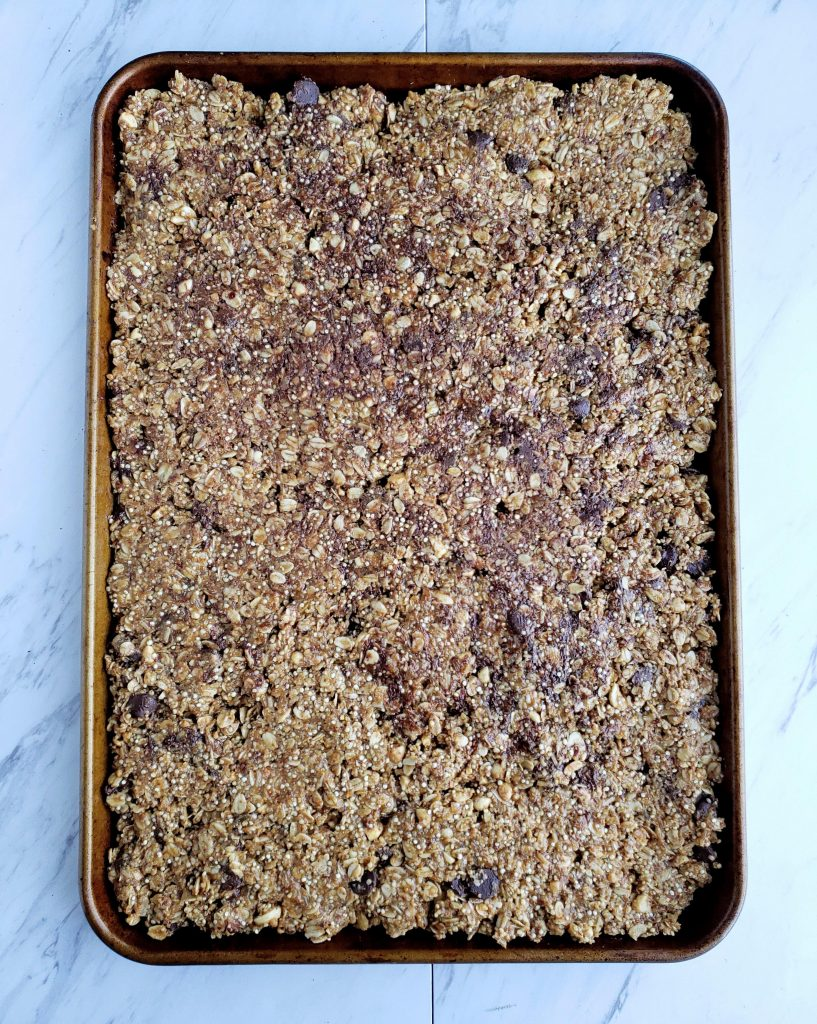 large pan of baked homemade kind bars