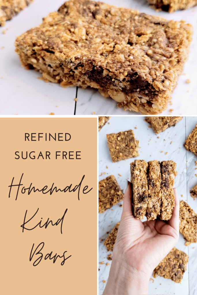This homemade Kind Bar recipe is an easy recipe for a healthy afternoon snack or energy bar for pre or post workout snack idea. This chewy and crunchy healthy energy bar is refined sugar free and absolutely delicious! #peanutbutterbar #refinedsugarfreesnack #healthysnackideas #healthysnackrecipe #afterschoolsnack #kindbarcopycat