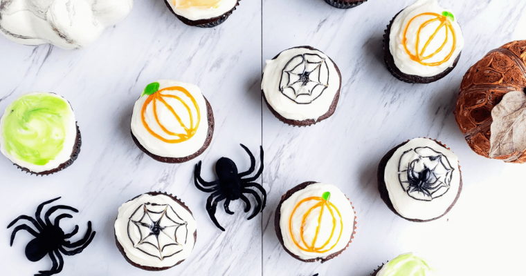 Healthy-ish Halloween Spider Web Cupcakes