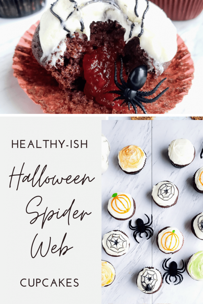 This simple Halloween dessert recipe is a fun decorative idea to make for a Halloween party. The base of these homemade chocolate cupcakes is healthy and refined sugar free. The frosting is a velvety cream cheese frosting. The combination of the two will make your mouth water. #halloweendessertideas #halloweentreats #chocolatecupcakes #homemadechocolatecupcakes #creamcheesefrosting #healthyish