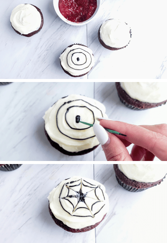 how to make a spider web frosted cupcake: cupcake tutorial