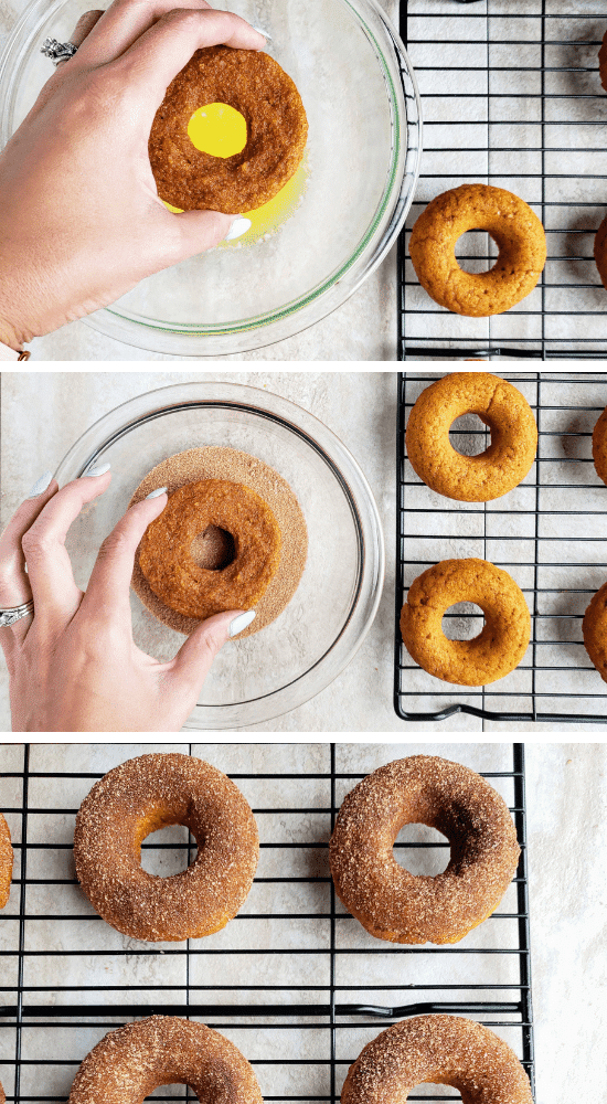 how to dip and coat pumpkin donuts in a cinnamon sugar mixture
