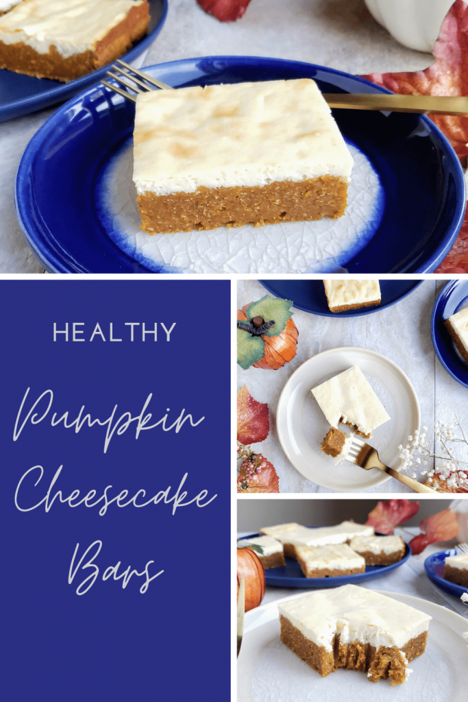 Healthy pumpkin cheesecake bars are a dense and chewy pumpkin bar topped with rich cheesecake. Enjoy this refined sugar free healthy dessert this fall or for Thanksgiving. #healthydesserts #cheesecakebars #pumpkinbars #thanksgivingdesserts #easydessertideas #refinedsugarfreedessert