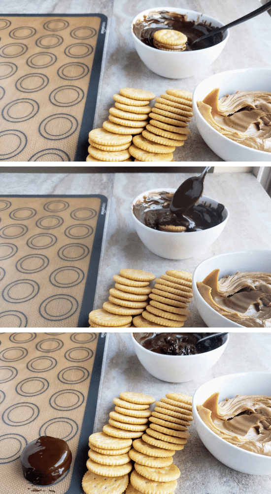 step by step process of dipping Ritz peanut butter sandwich cookies in melted chocolate