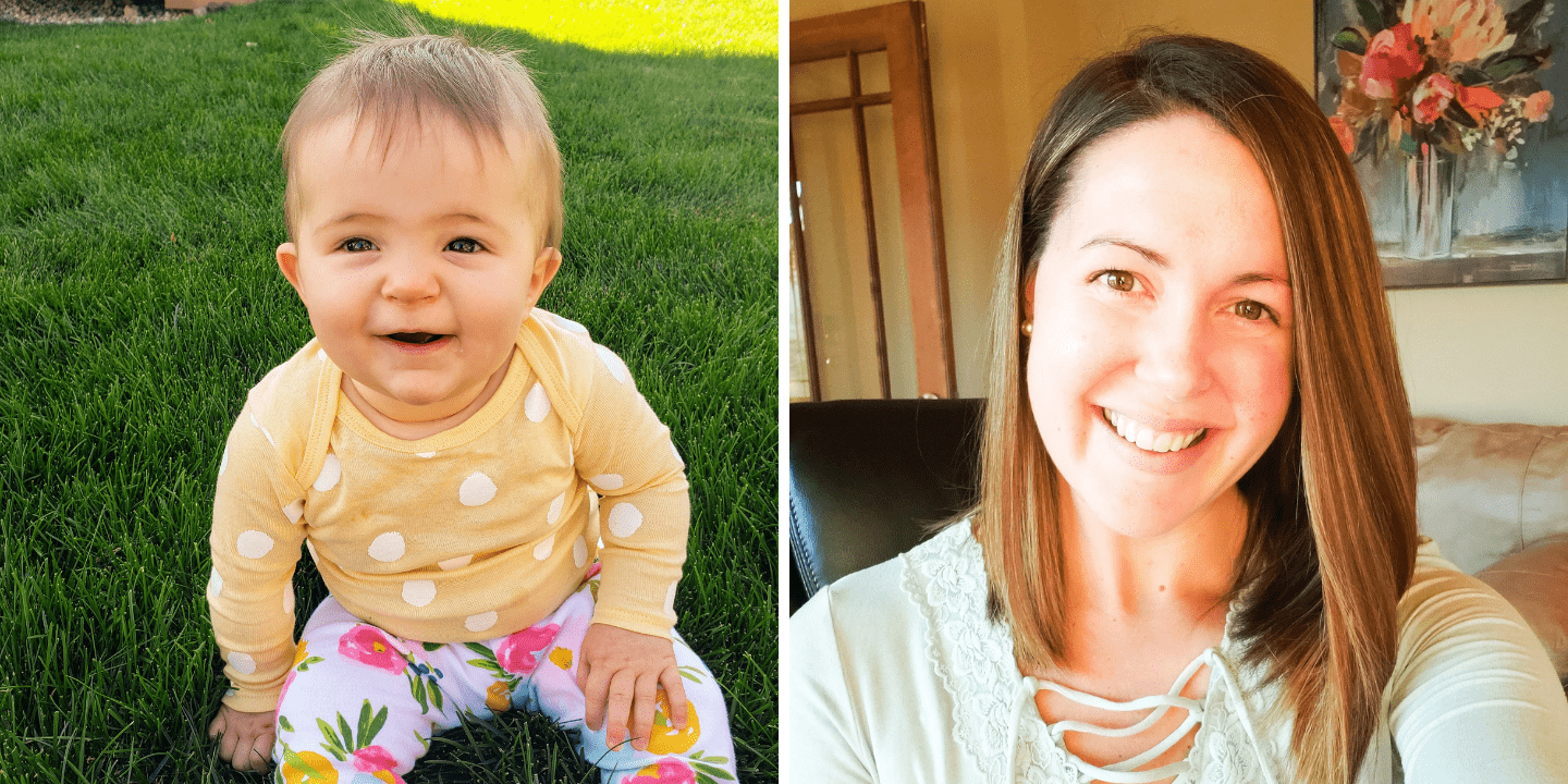 left: baby sitting in the grass. right: woman sitting in her office smiling at the camera