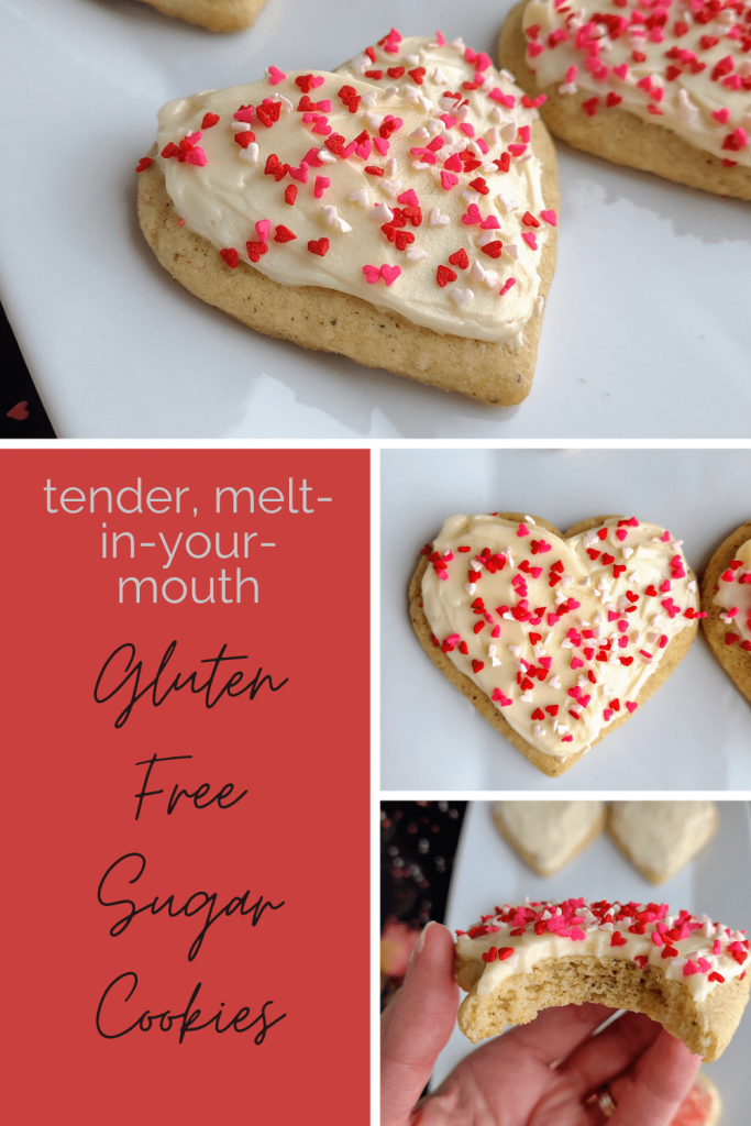 Tender, melt in your mouth gluten free sugar cookies are the best sugar cookie recipe you will ever make. These cutout sugar cookies are topped with a homemade buttercream frosting and store well in the freezer. These are a must make sugar cookie recipe. #glutenfreedessert #glutenfreecookies #sugarcookierecipe #homemadesugarcookies #lofthousecookies
