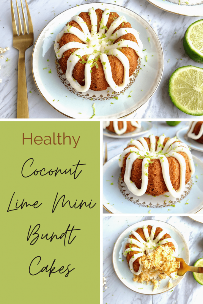 healthy coconut lime cake are mini bundt cakes that are refined sugar free. A homemade cream cheese frosting tops each cake with some extra lime zest. These tropical cakes are perfect for St. Patrick's Day or summertime! #healthycakerecipes #healthydessertideas #coconutlimecake #minicakes #minibundtcake