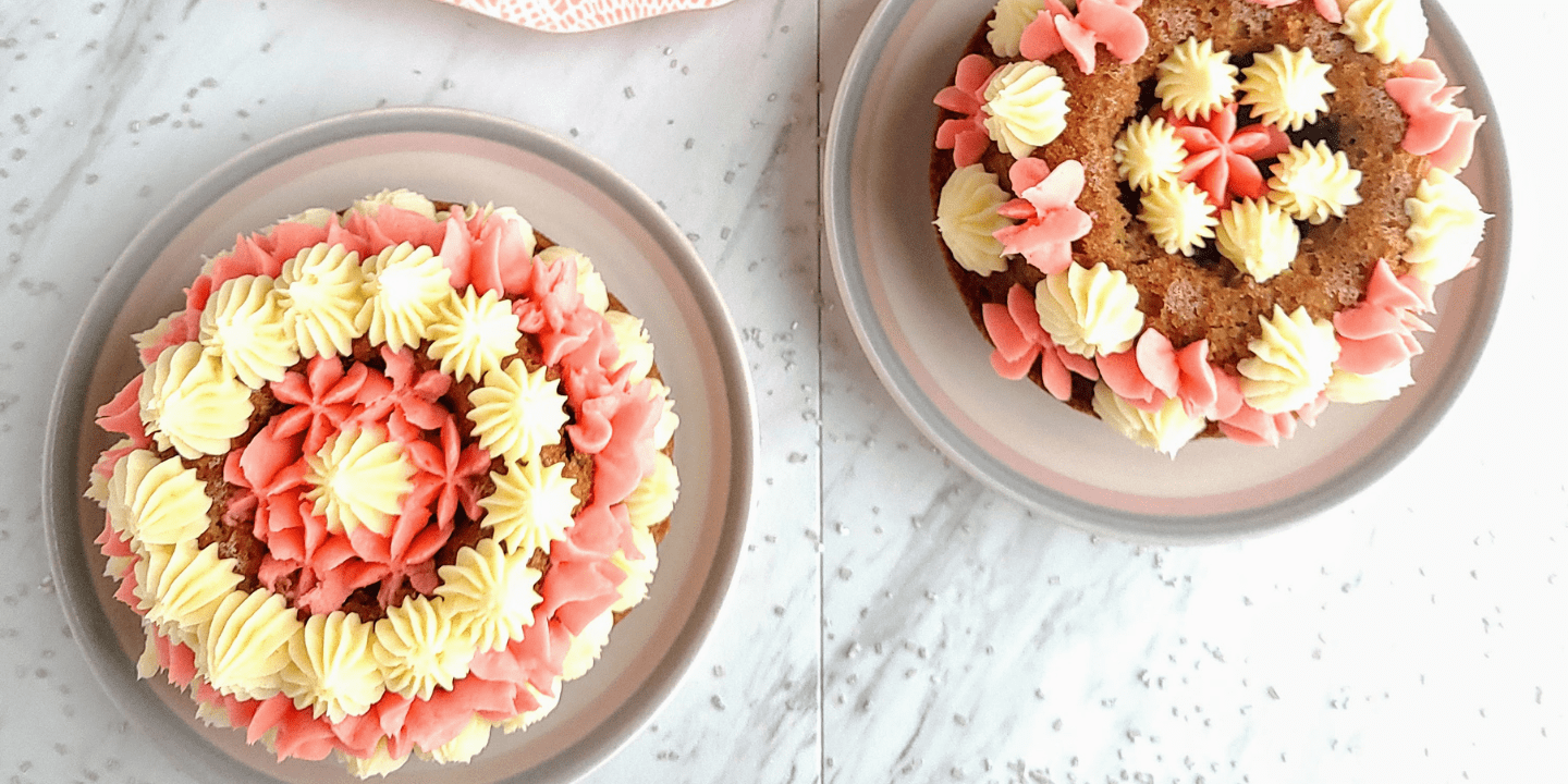 top down of two decorated healthy gluten free smash cakes