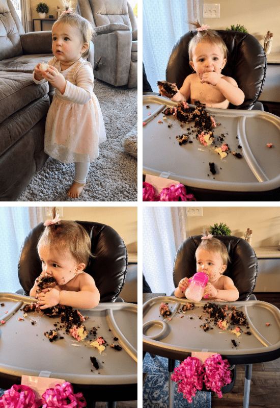 four photos of a baby eating a birthday cake