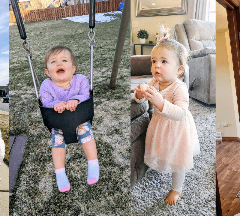 woman walking a dog and stroller. Baby in a swing. Baby standing next to a couch. Woman taking a selfie in the mirror