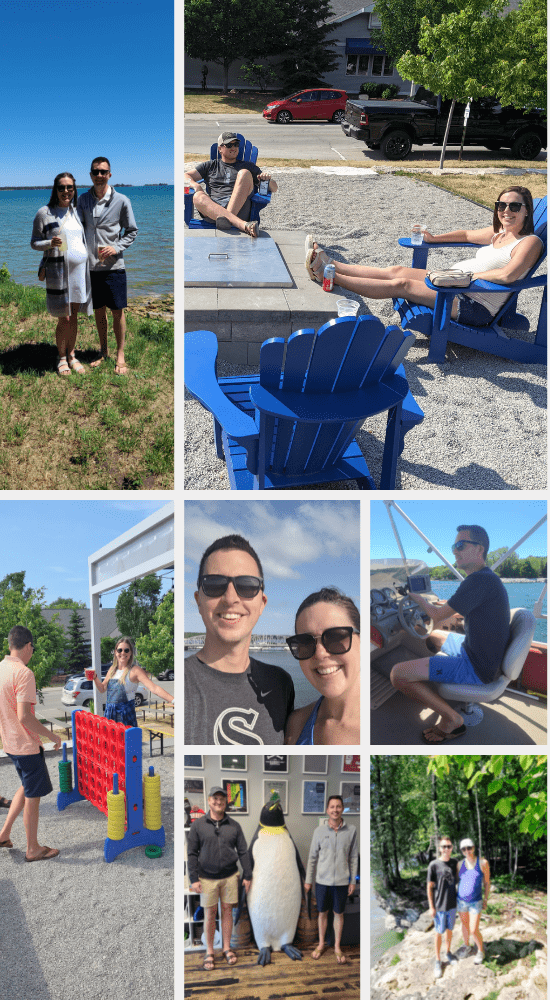 collage of adults on an outdoor vacation