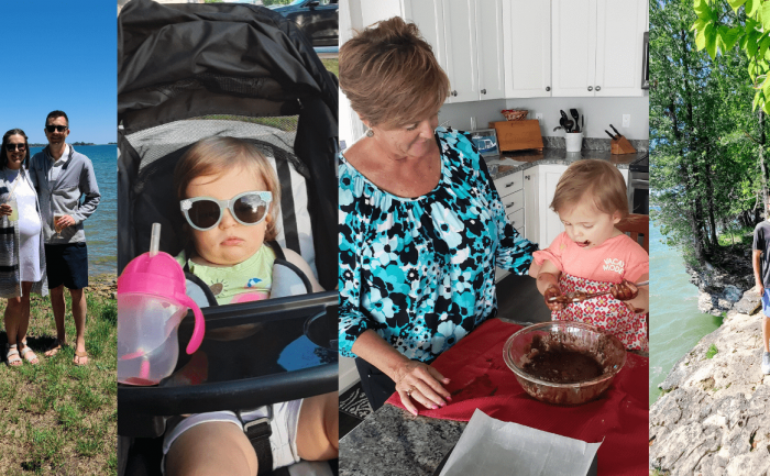 pictures of a couple outdoors and a baby in a stroller and making brownies