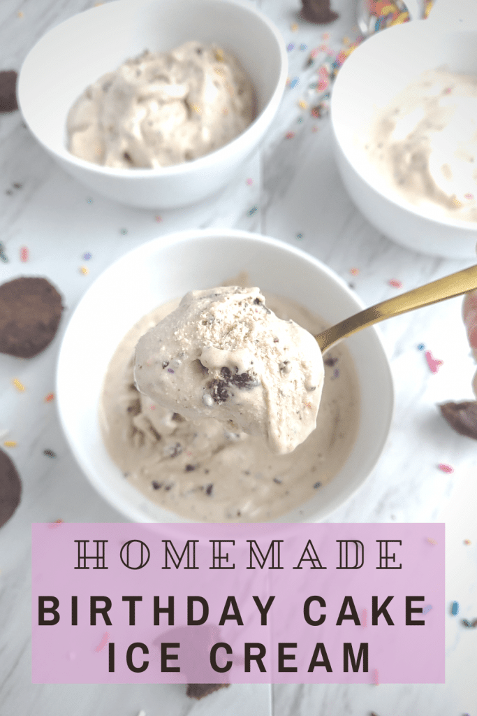 Homemade birthday cake ice cream tastes just like the Cold Stone Creamery birthday cake remix. This Cold Stone copycat is a perfect birthday dessert, or to just enjoy on a hot summer day. #homemadeicecream #birthdaycakerecipe #coldstone #birthdaycakeicecream #summerdessert #birthdaydessert